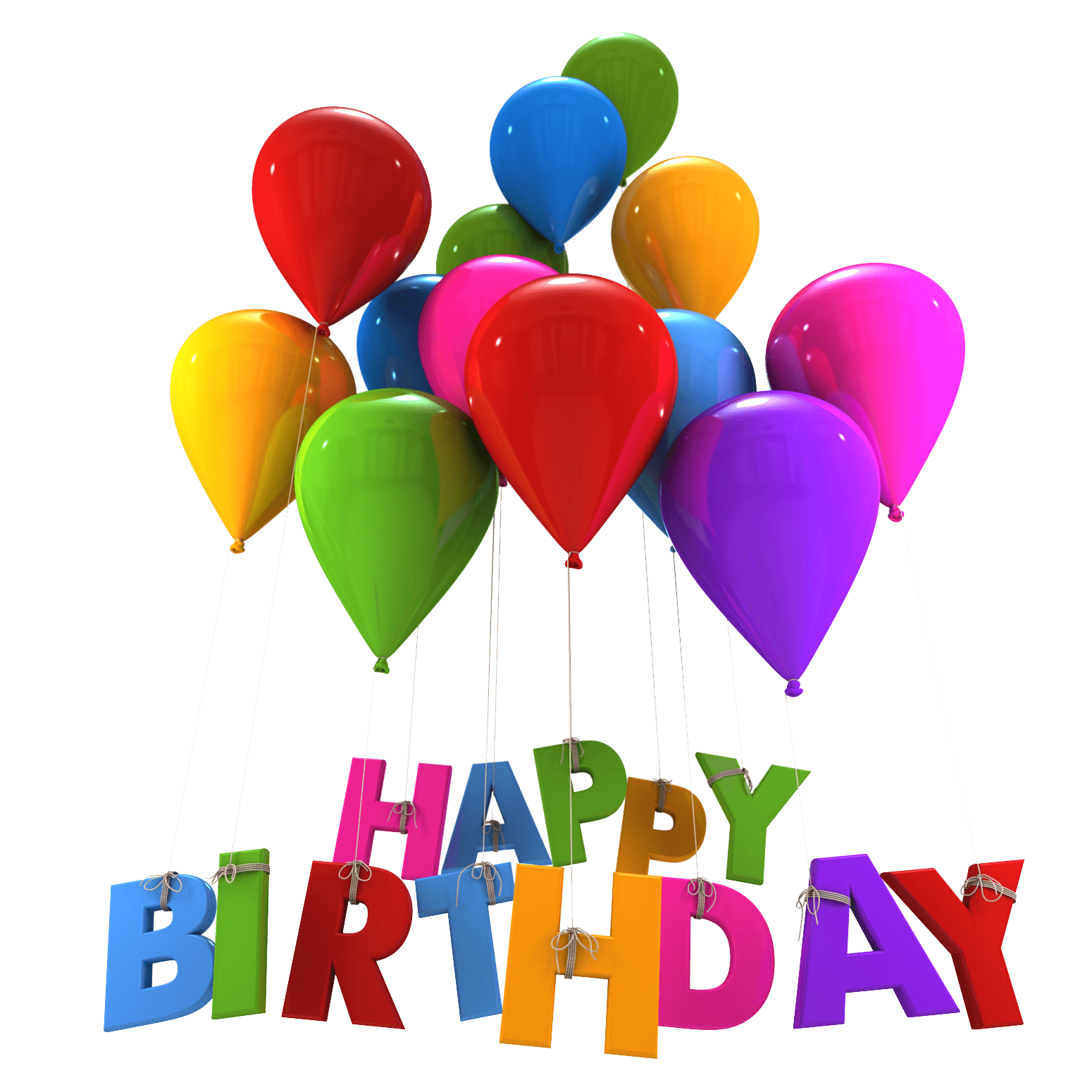 Happy birthday balloon png. Balloons hanging letters transparent