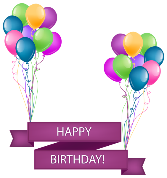 Happy banner with balloons. Birthday images png transparent library