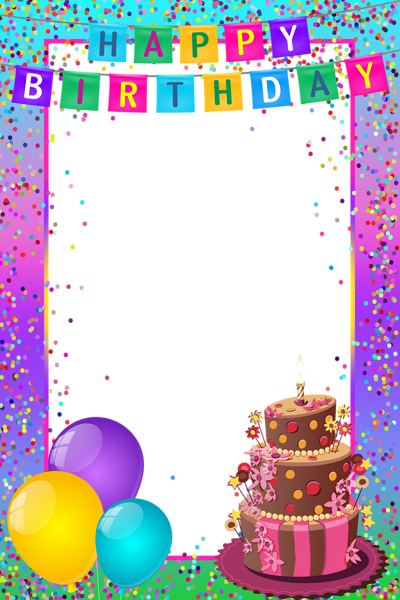 Happy birthday border png. Transparent multicolor frame birthdays