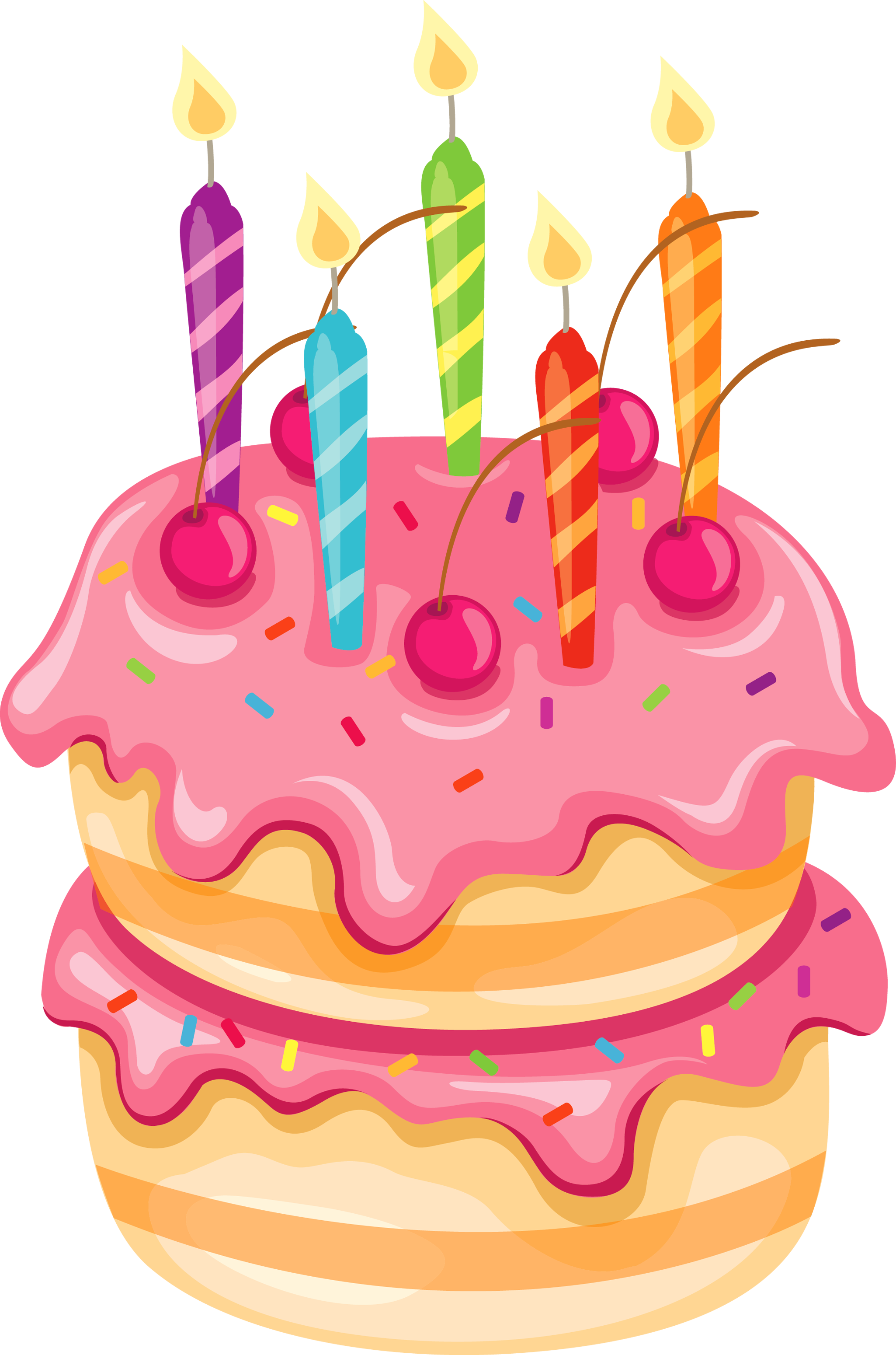 Pink cake png. With candles clipart aniversaris