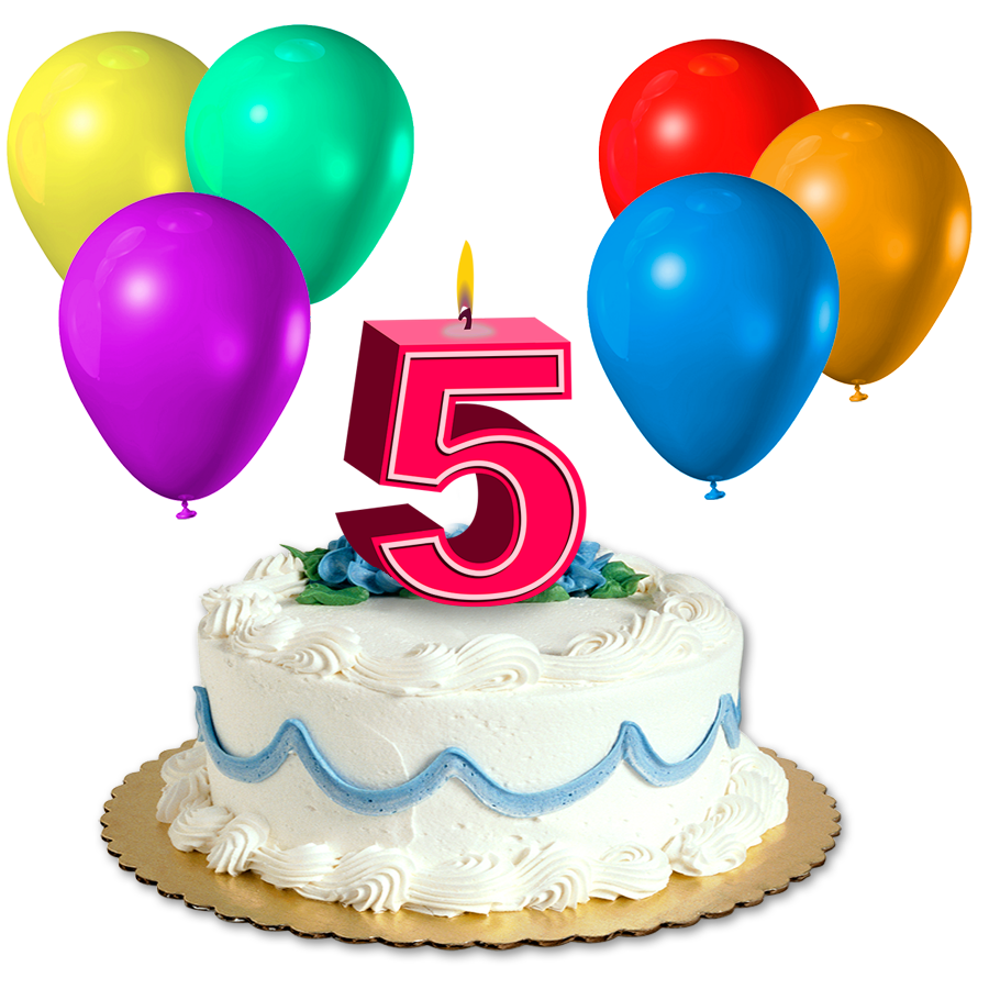 Happy Birthday Cake With 5 Candles Transparent Png Clipart Free