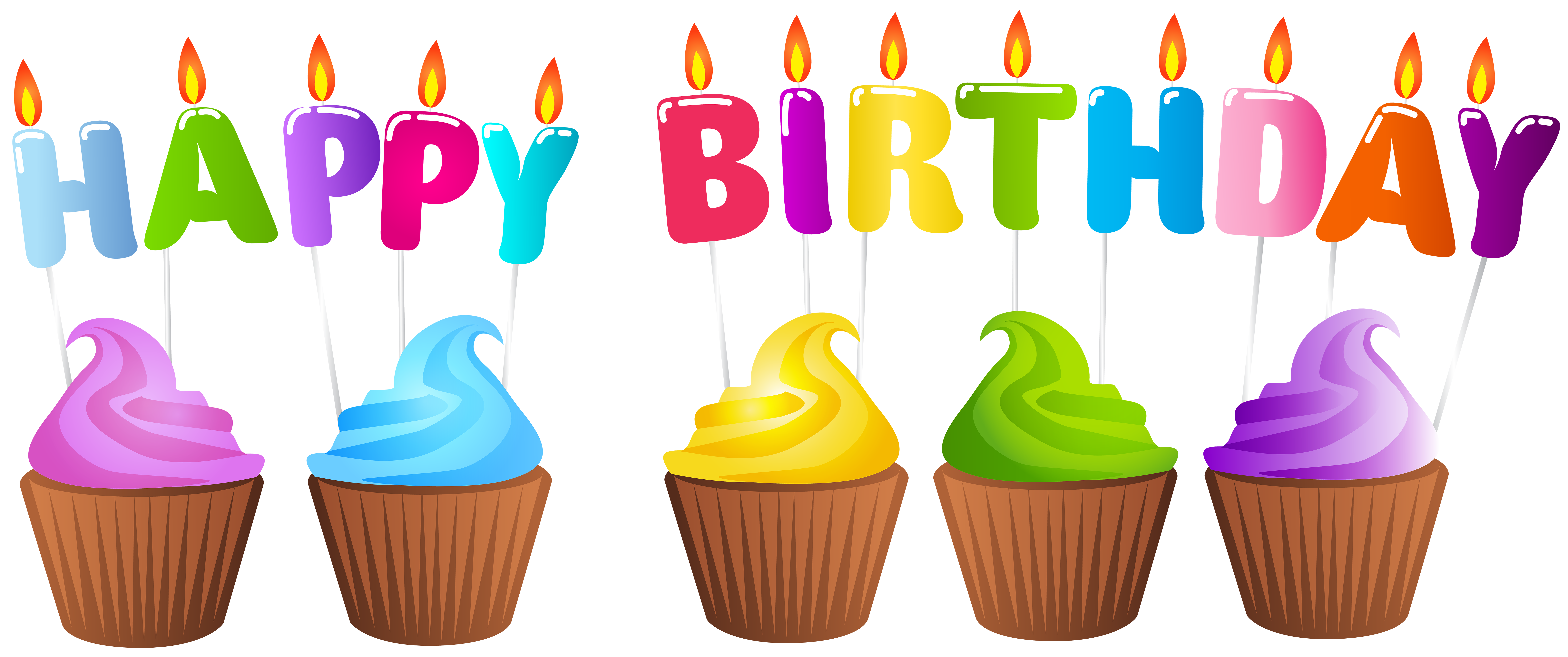 Transparent candles happy birthday. Muffins png clip art