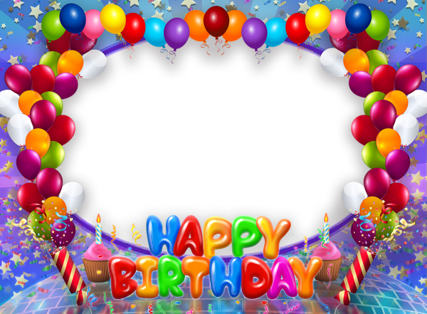 Happy birthday frame png. Transparent with balloons