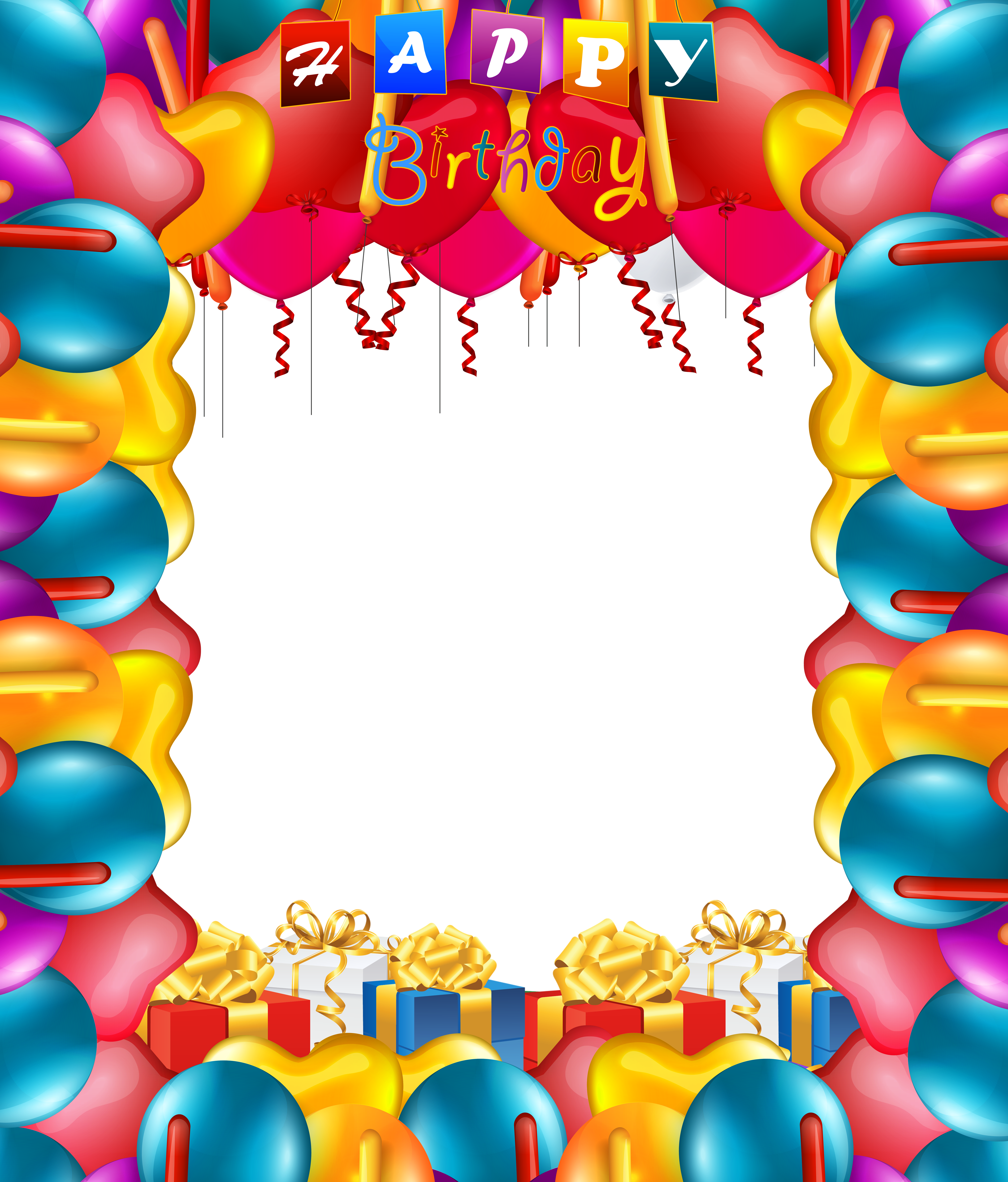 Party frame png. Happy birthday balloons transparent