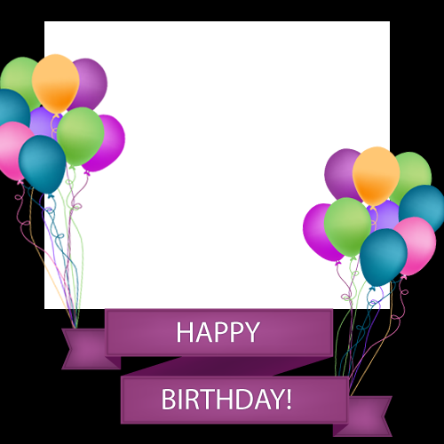 Happy birthday frame png. Photo with colorful balloons