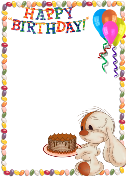 Kids transparent photo with. Frame clipart happy birthday vector free library