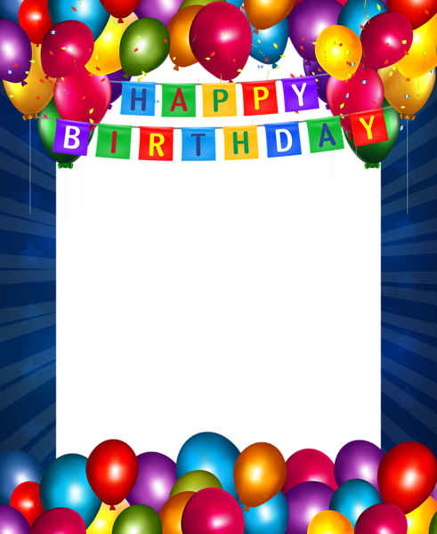 Happy birthday frames and borders png. Blue transparent frame