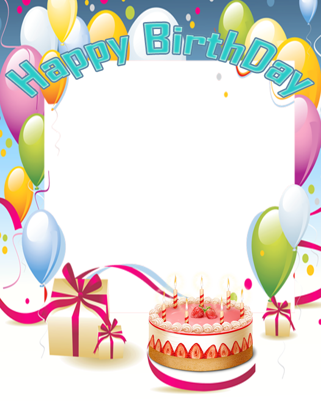 Happy birthday frames and borders png. Texturas fondos con globos
