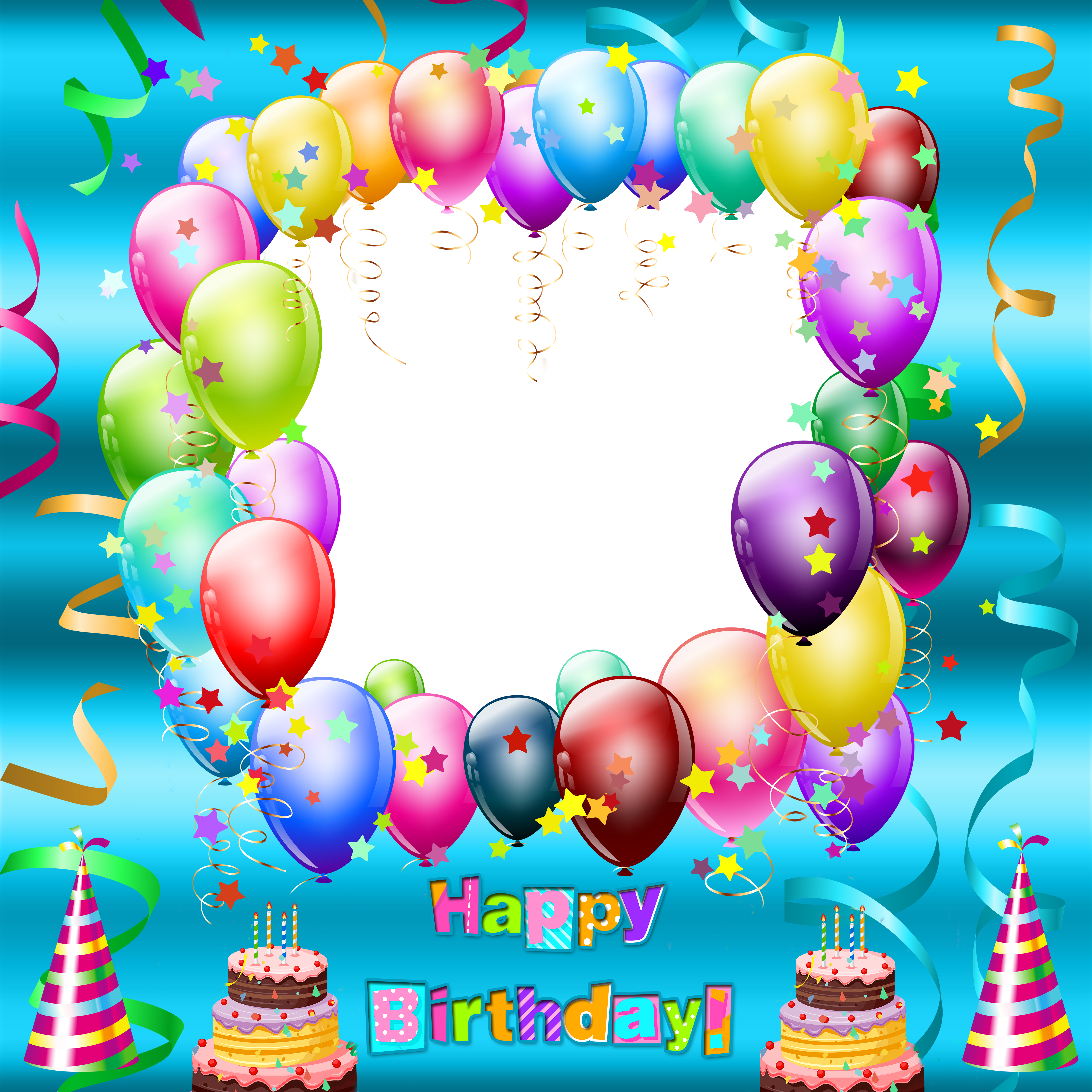 Happy birthday frames png. Transparent blue frame svetla