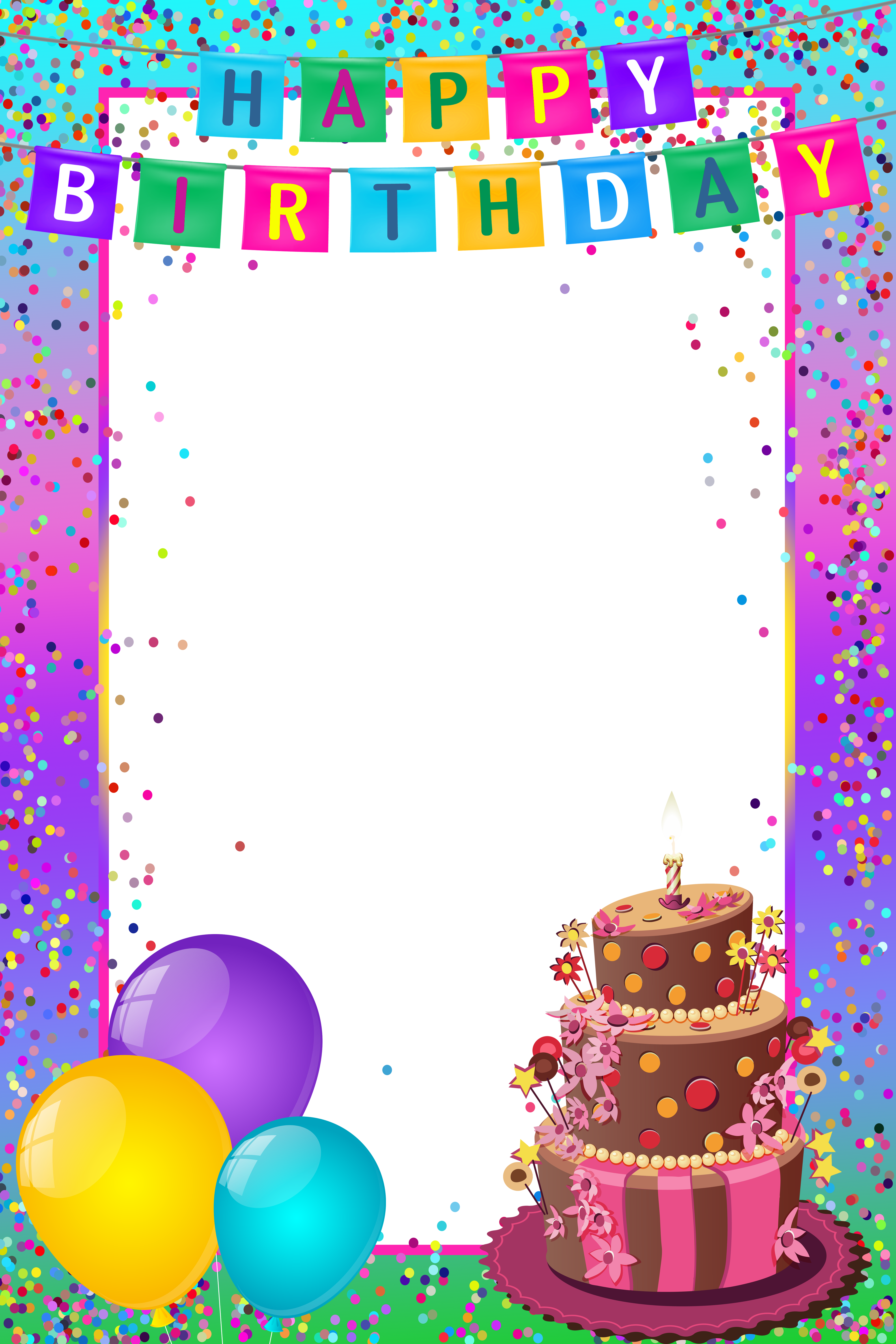 Happy birthday frames png. Transparent multicolor frame gallery