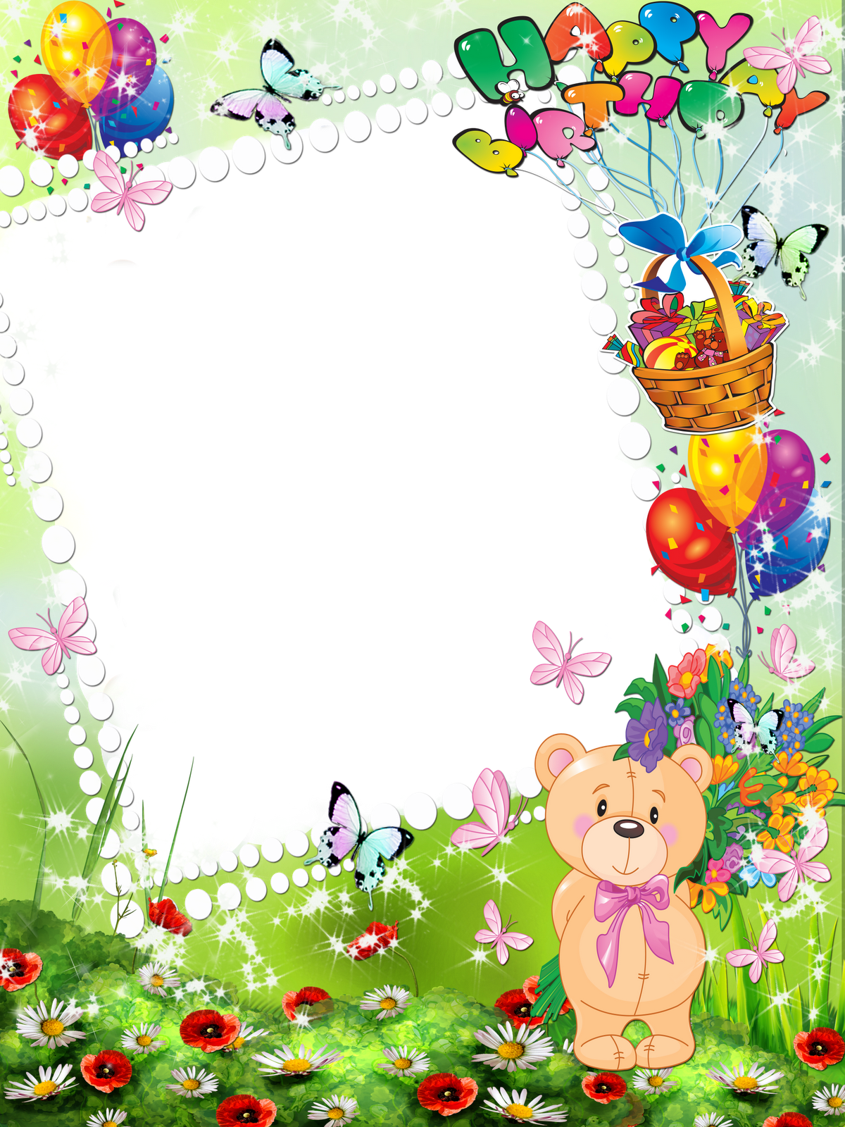 Happy png borders frames. Nature clipart birthday clip black and white