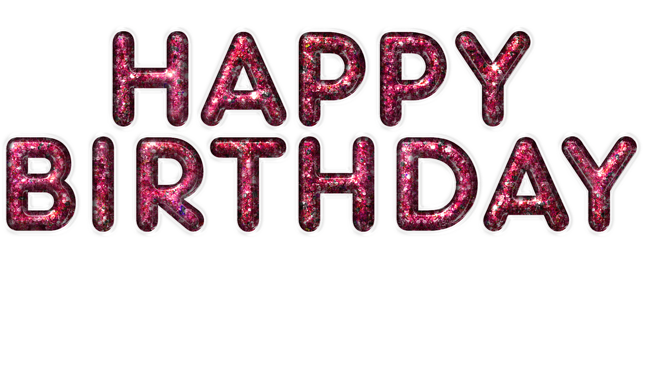 Happy birthday pink png. Purple letters transparent stickpng