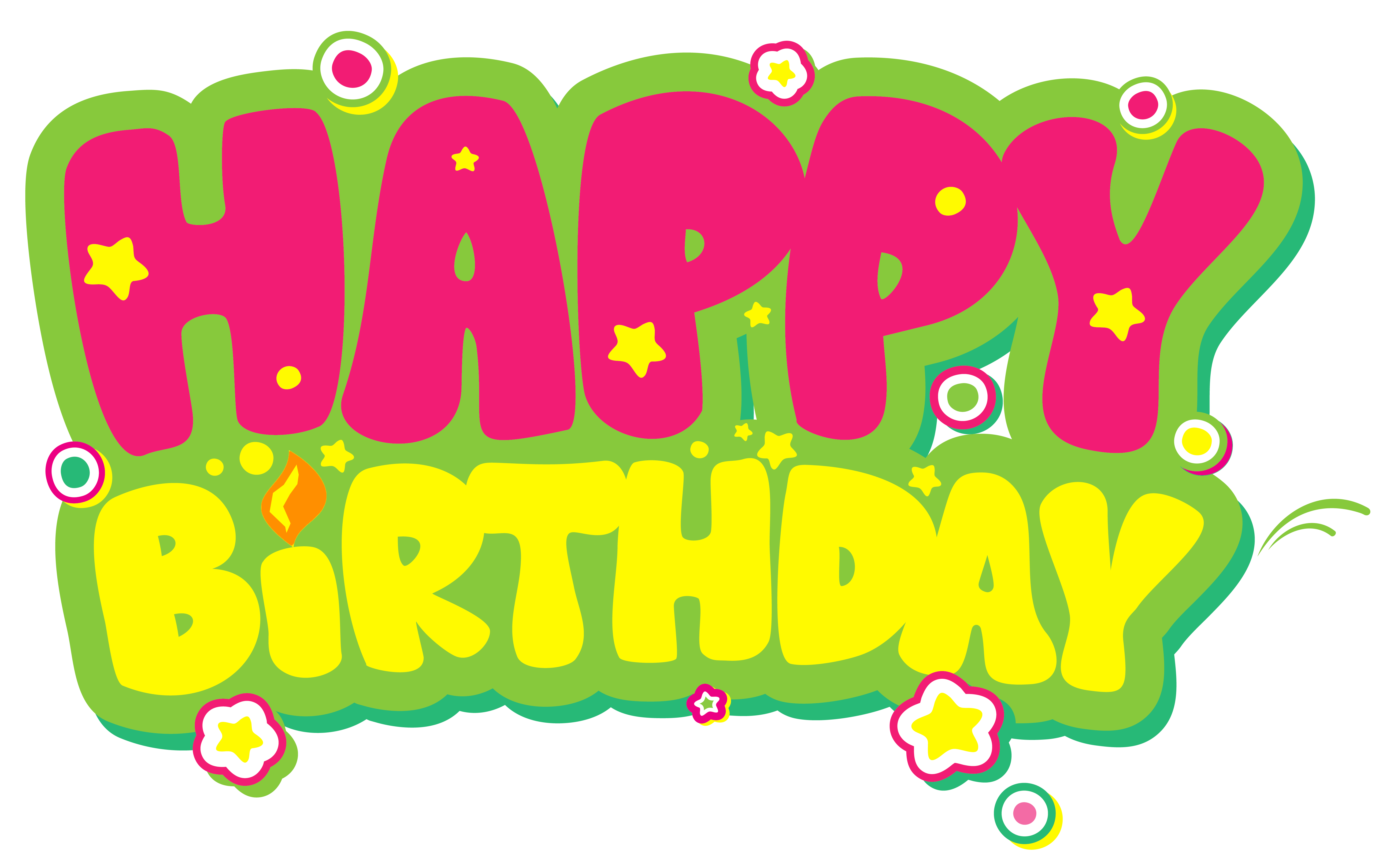 Happy birthday pink png. Yellow and clip art
