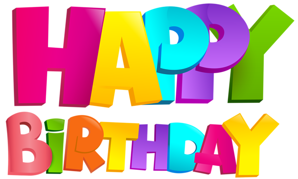Happy birthday transparent png. Colorful clip art image