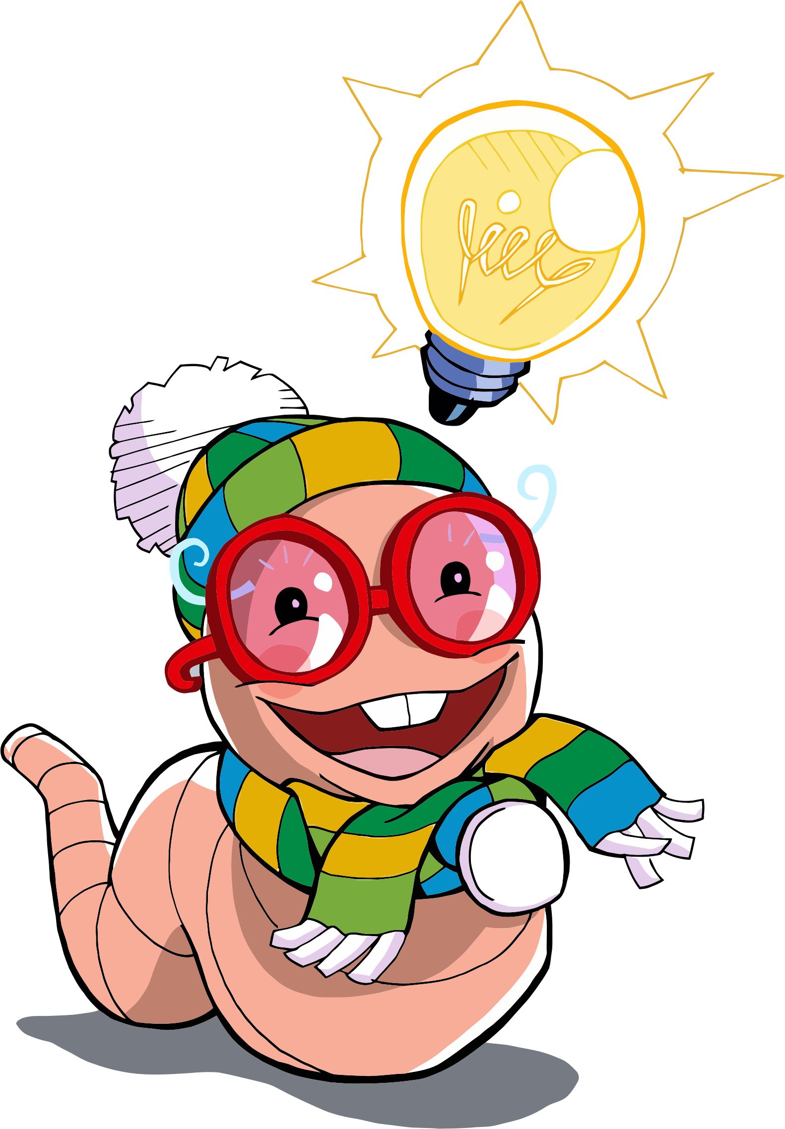 Happy clipart worm. Nerdy big image png
