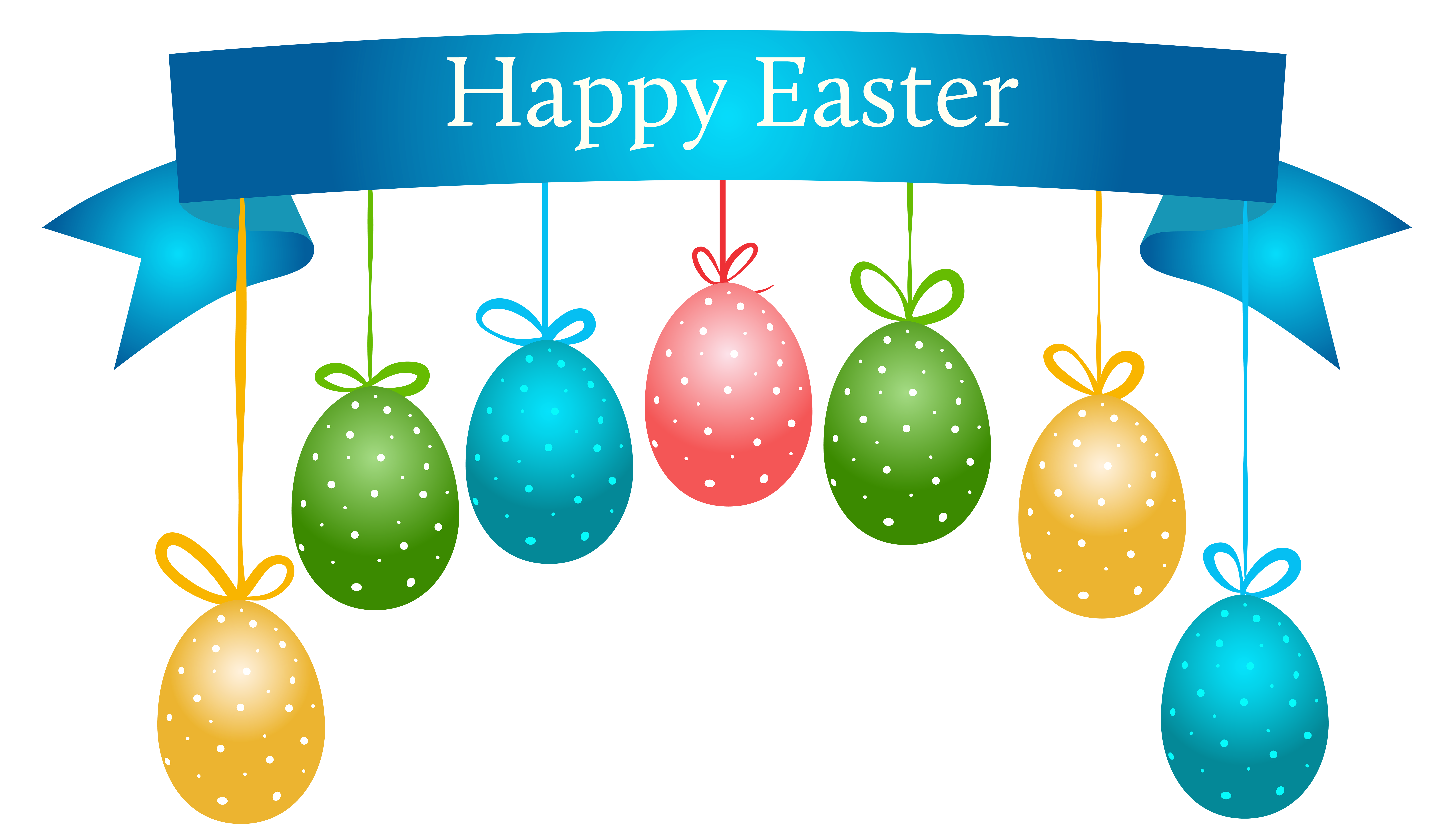 Happy easter banner png. With hanging eggs transparent