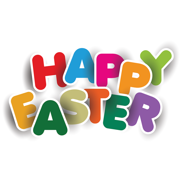 Typography vector. Colorful happy easter elements