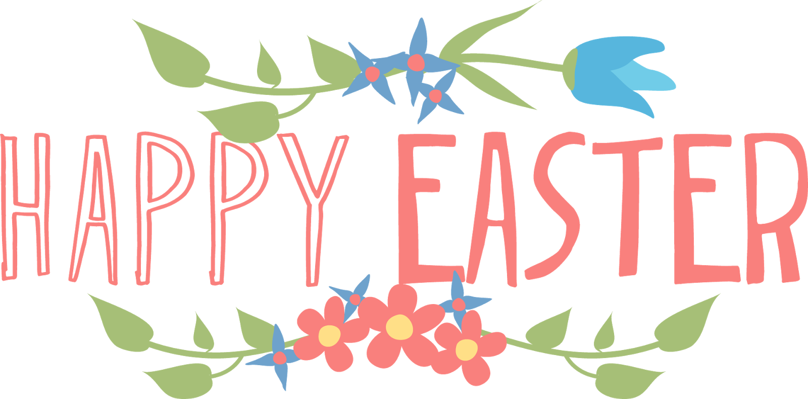 Happy easter png different font. Text