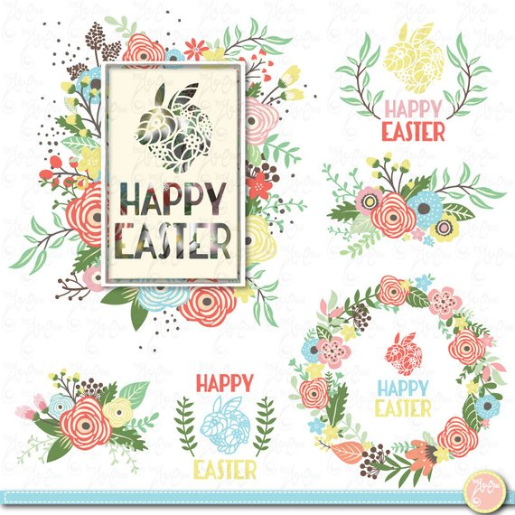 Happy easter png vintage. Clip art floral set