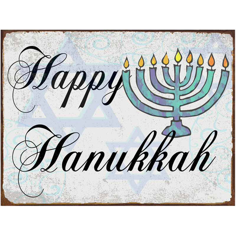Happy hanukkah png. Metal sign