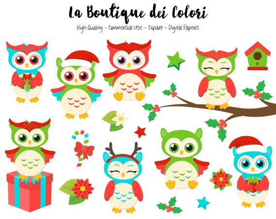 Happy holidays png cute. Christmas owls clipart digital