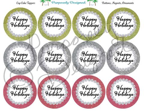 Happy holidays png glitter. And rhinestone color set