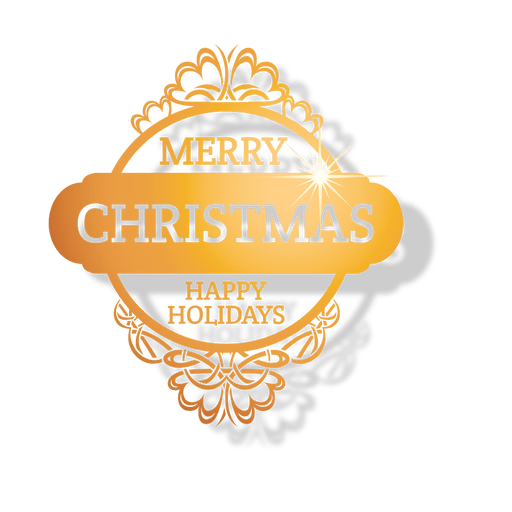Happy holidays png gold. Golden ornamented christmas badge