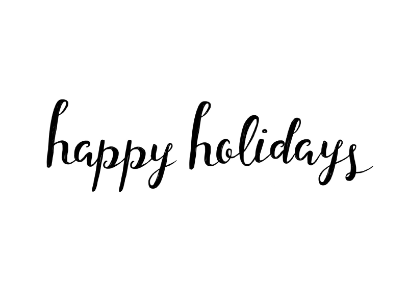 Happy holidays png cursive. By ray of light