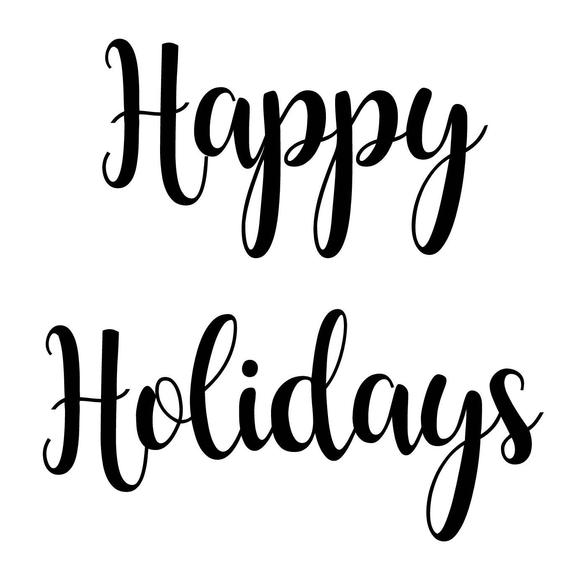 Happy holidays png white. Svg pdf jpg file