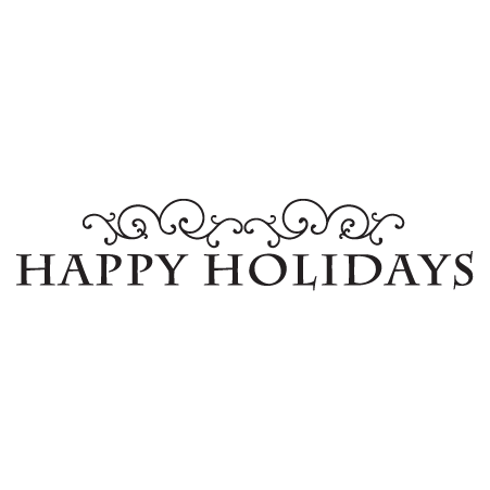 Happy holidays white png. Fancy scrolls wall quotes