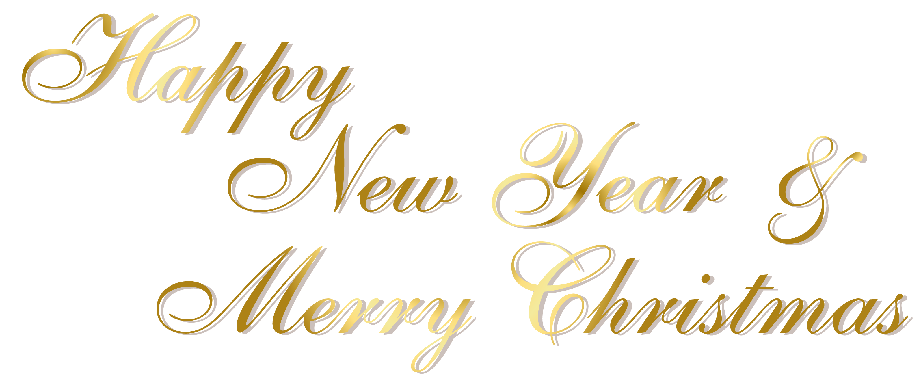 Merry christmas and happy new year png. Gold text gallery view