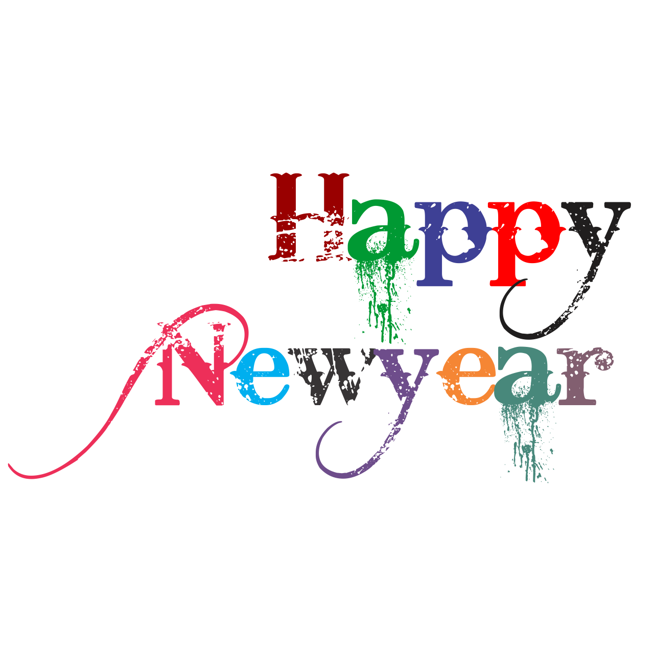 Happy new year text. Png picsart download clipart black and white library