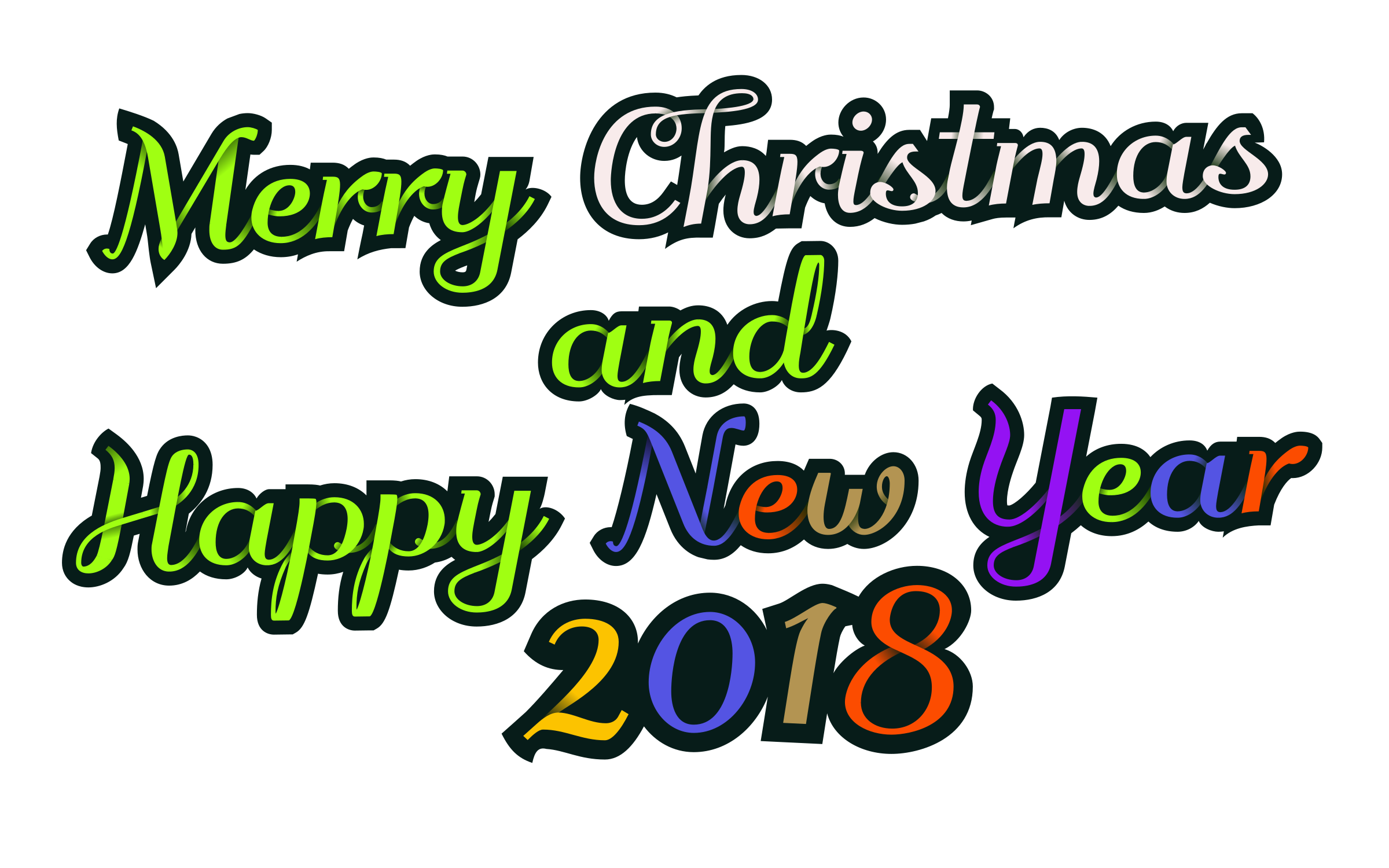 Happy new year 2018 text png. Clipart merry christmas decorative
