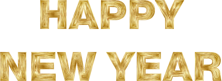 Clipart medium image . Happy new year gold png banner stock