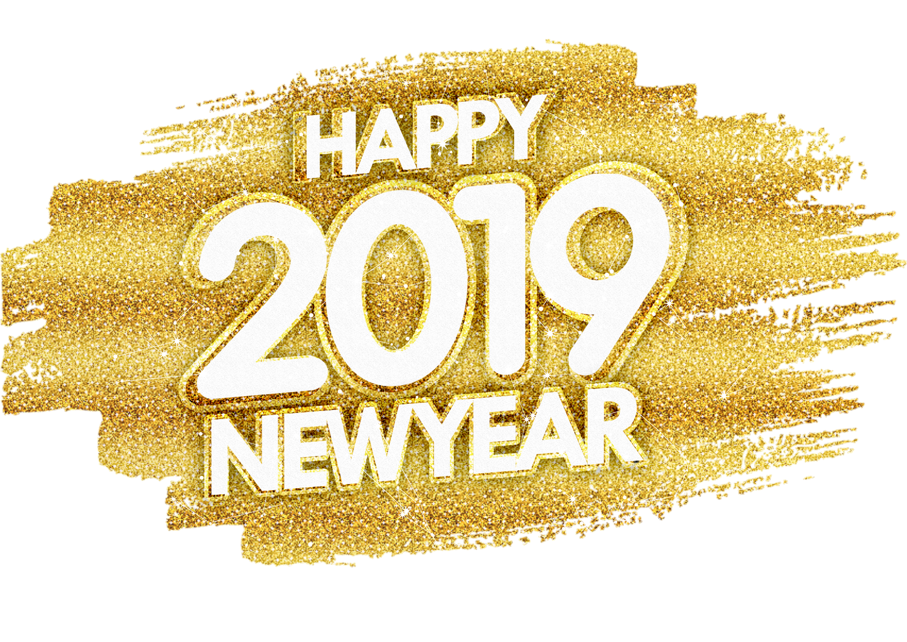 December png glitter. Happy new year gold
