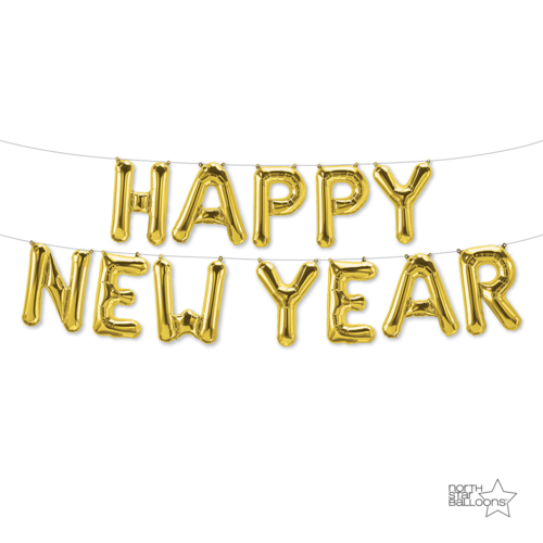 Kit in northstar balloons. Happy new year gold png vector free download