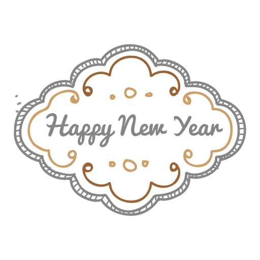 Happy new year png transparent. Ornate doodle svg vector