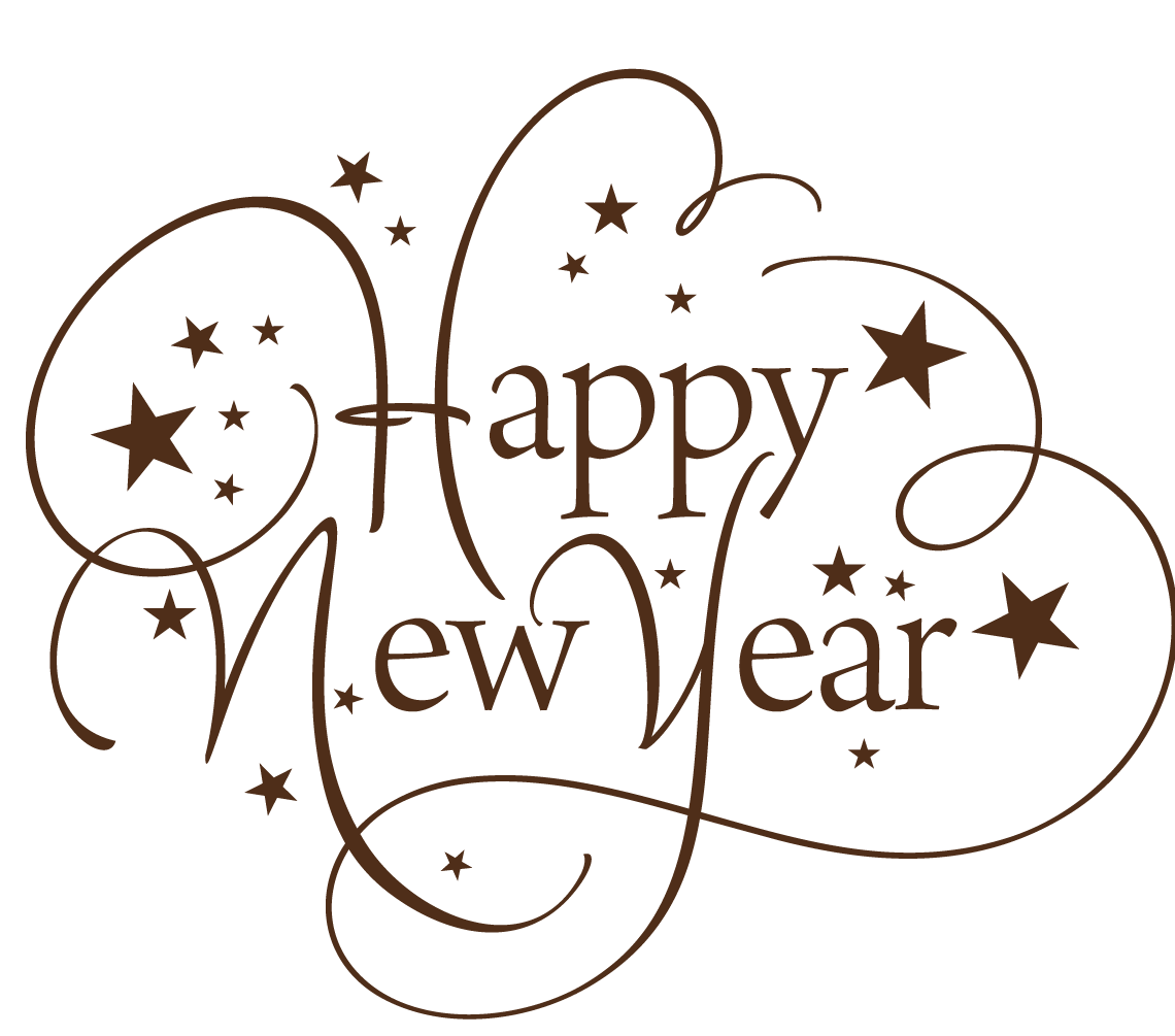 Happy new year text png. Thin transparent stickpng download