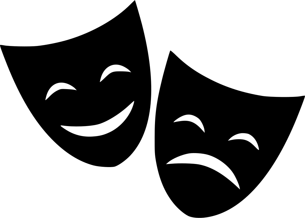Theater happy sad svg. Cinema clipart drama greek mask svg black and white library
