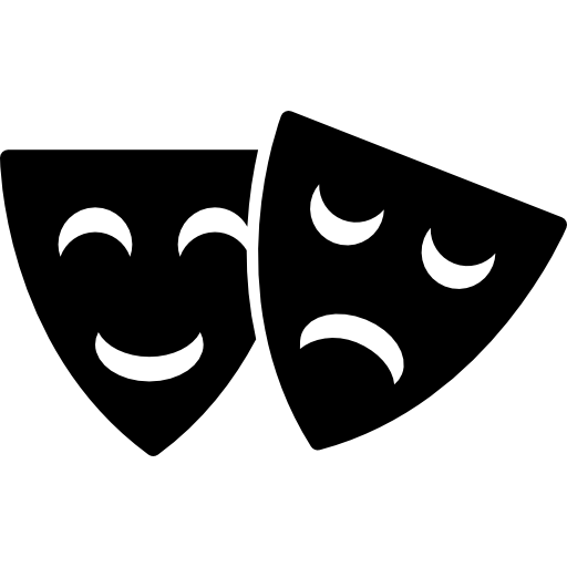 Happy and sad masks. Theater vector mask clip black and white stock
