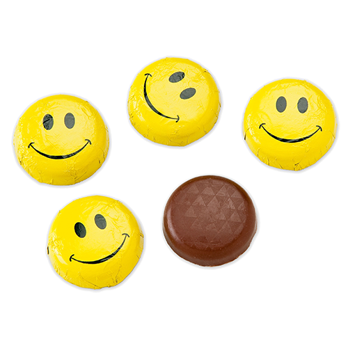 Happy smiley face png. Foiled solid milk chocolate