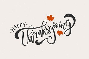 Happy thanksgiving png typography. Card photos graphics fonts