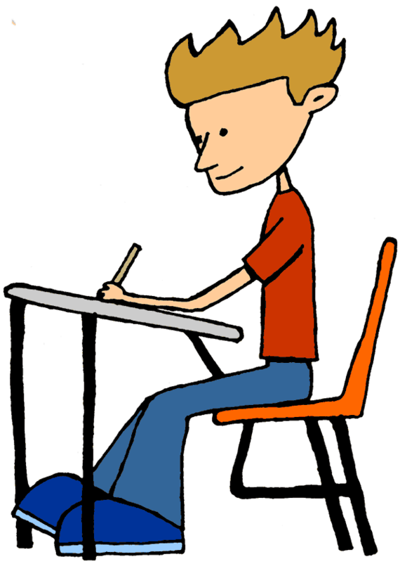 Studying clipart. Free boy desk cliparts