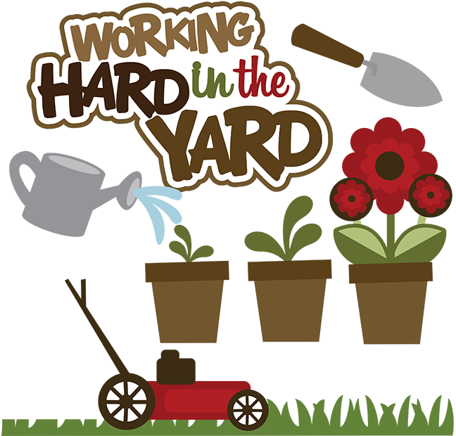 Hard clipart cute. Working in the yard