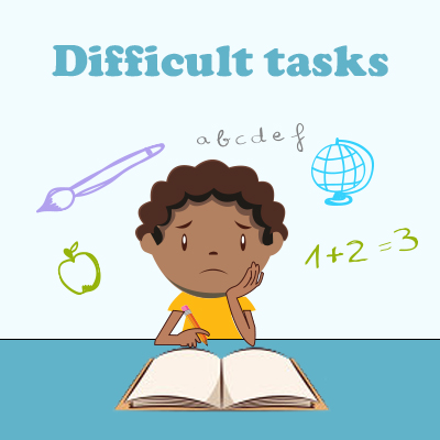Hard clipart difficult task. Concentration problems in children