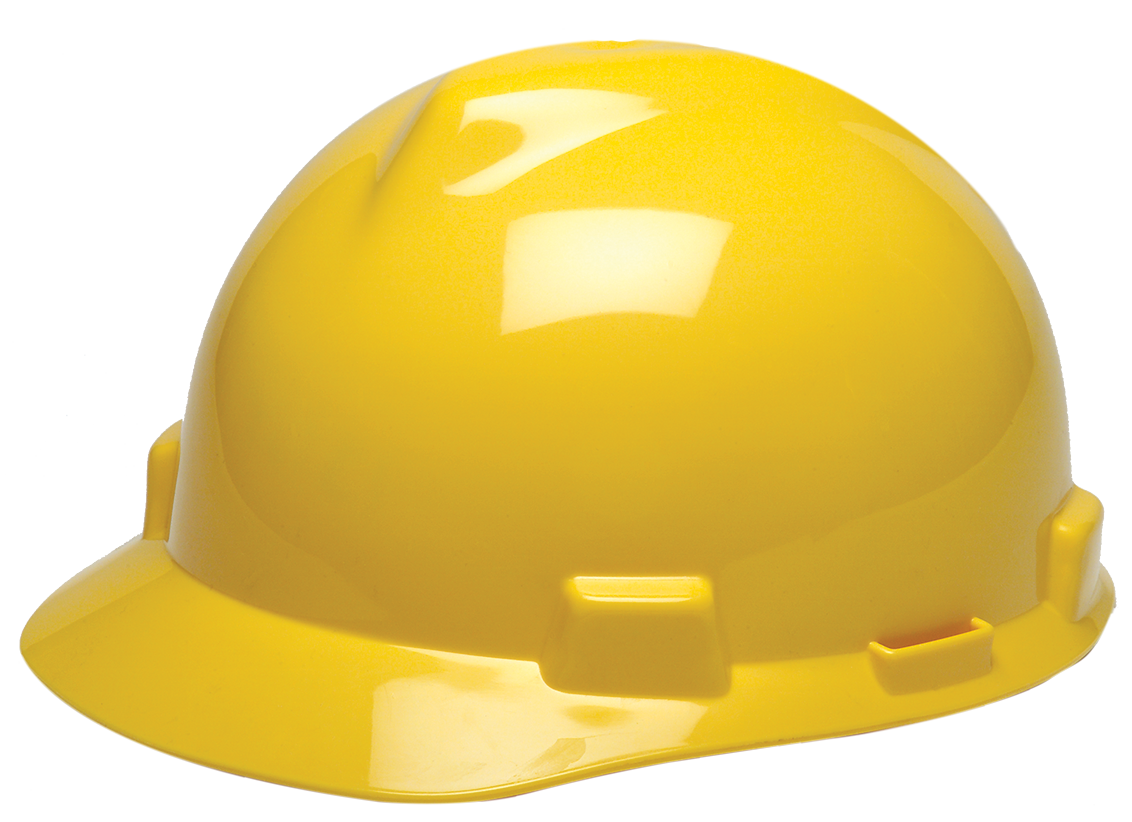 Hard hat png. Yellow msa with fas