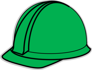 Hardhat vector safety cap. Green hard hat clip