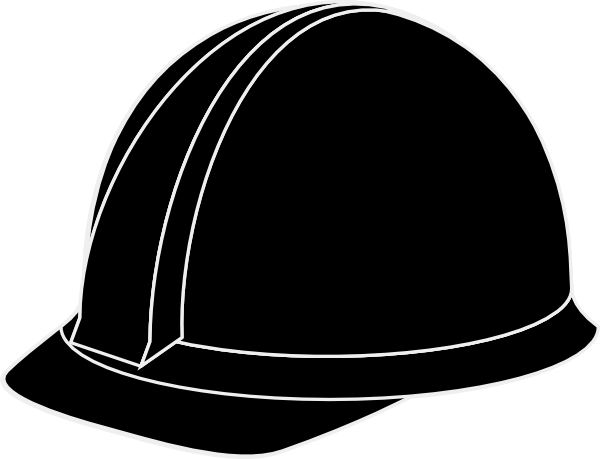 White hard hat clip. Hardhat vector banner black and white download
