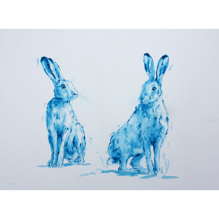 Hares drawing boxing. Annabel popewatercolour pope true