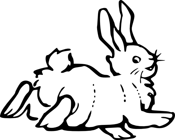 Hares drawing cartoon. Running rabbit outline clip